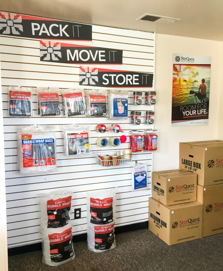 Packing supplies available at StorQuest Self Storage in Temecula, California