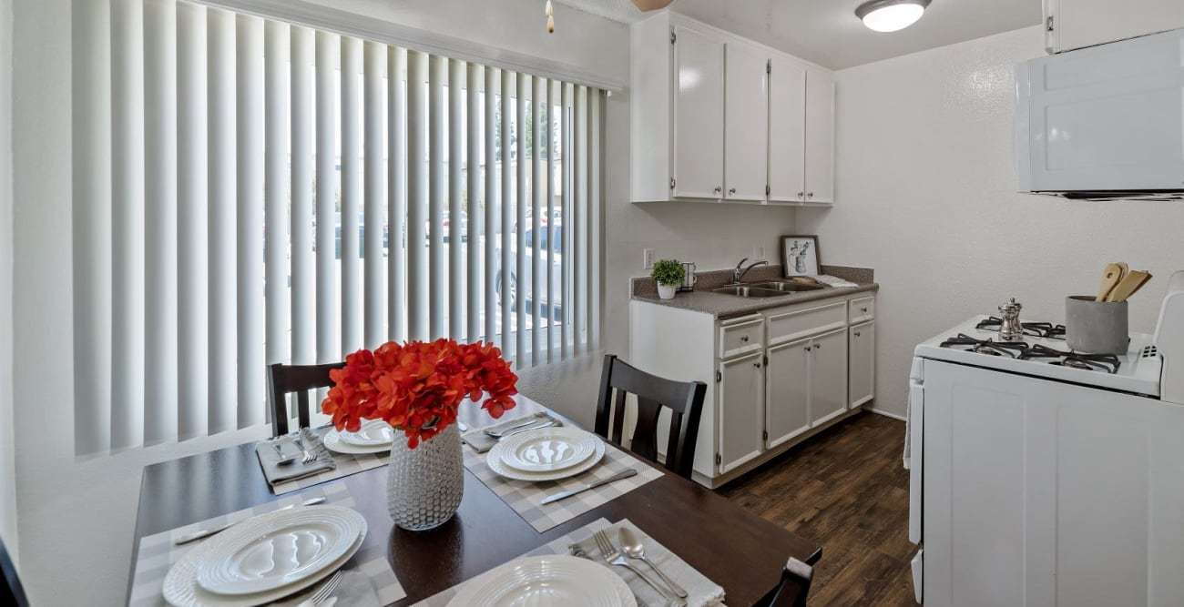 Bright and open kitchen at The Crossroads in Van Nuys, CA