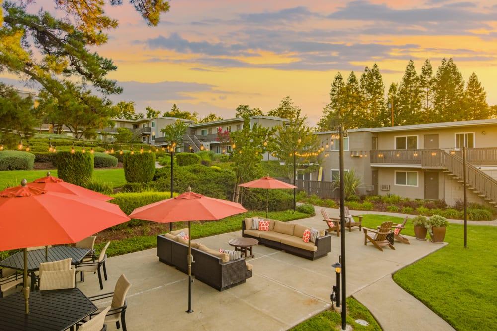 Outdoor lounge during beautiful sunset at Pleasanton Heights in Pleasanton, California