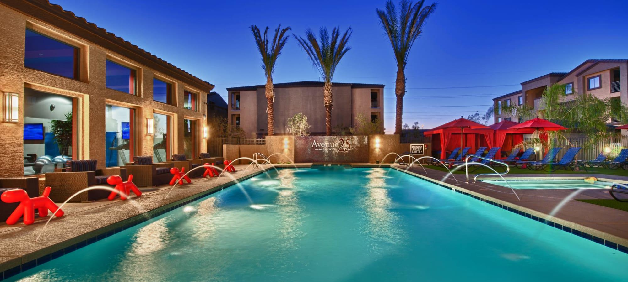 Large swimming pool at Avenue 25 Apartments in Phoenix, Arizona