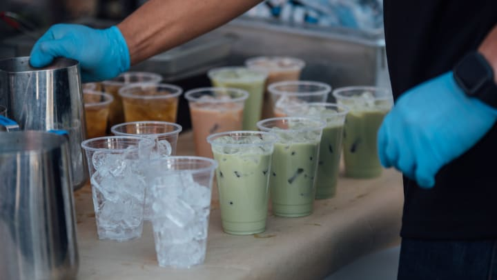 Boba tea being made in a local tea shop near The Ranch at Shadow Lake in Houston, Texas