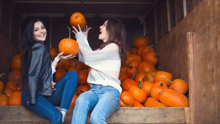 Two young women sitting in a pile of pumpkins near Olympus Northpoint