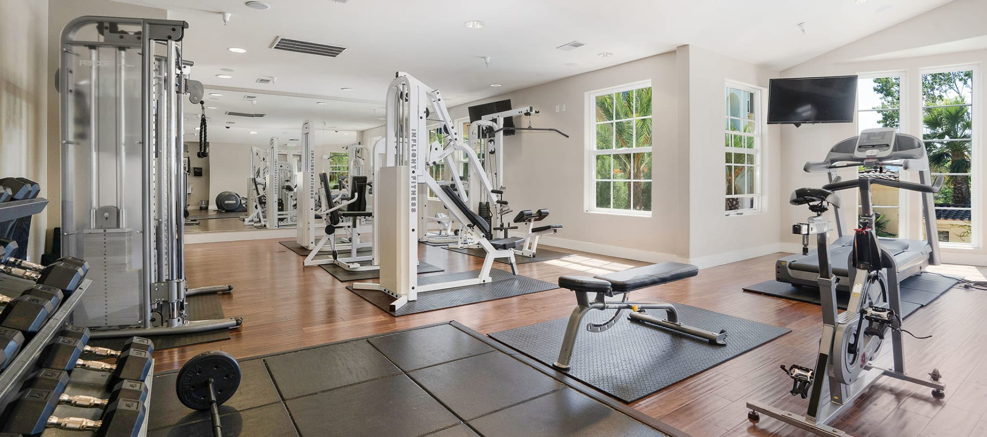 Free weights in the fitness center at Park Central in Concord, California