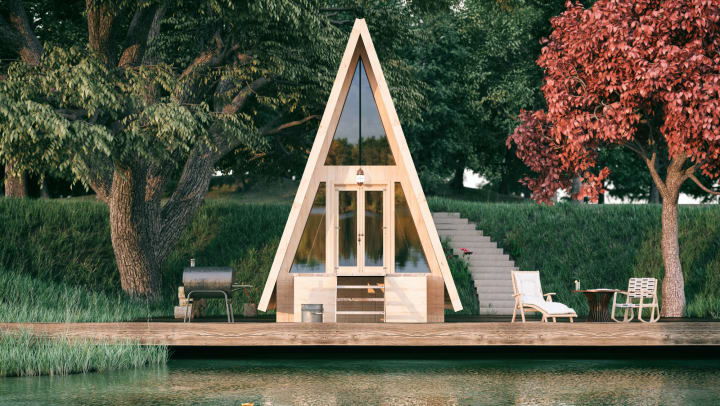 A-frame AirBnB small house on the river