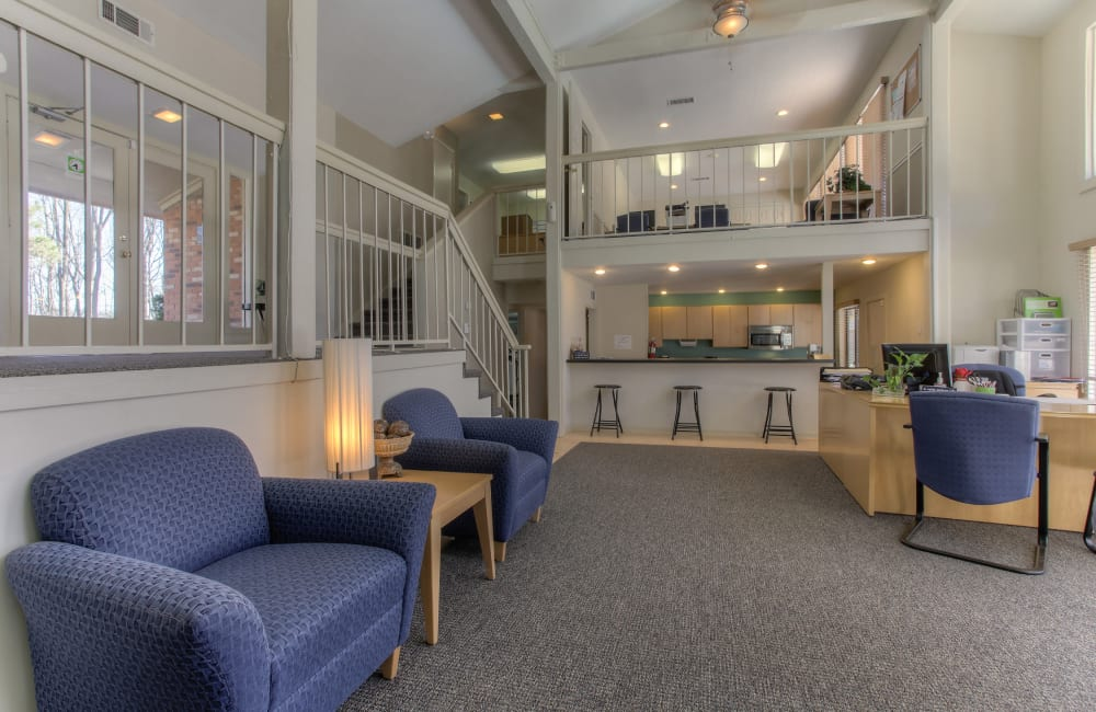 Two story clubhouse at Enclave at North Point Apartment Homes in Winston Salem, North Carolina