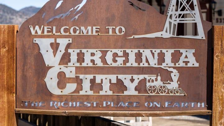 A welcome to Virginia City sign in Virginia City, Nevada