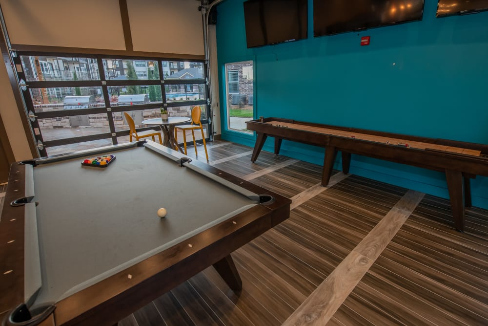 Clubhouse activities at Bend at New Road Apartments in Waco, Texas.
