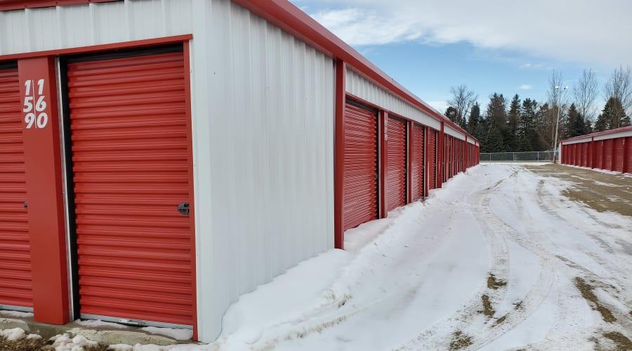 Exterior of outdoor units at KO Storage of Austin in Austin, Minnesota