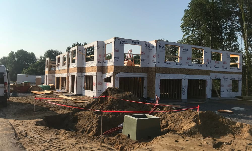 Building under construction at Enclave 50 in Ballston Spa, New York