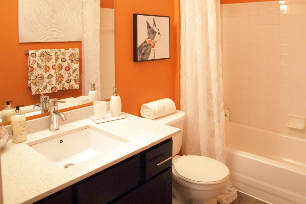Bathroom with shower and bathtub at The Landings at Beckett Ridge in West Chester, Ohio