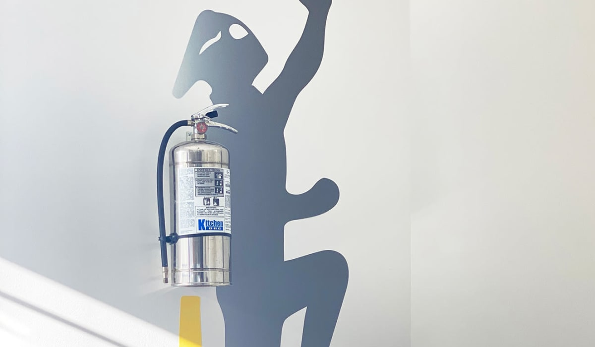 Creative painting around a fire extinguisher at E&S Ring Management Corporation in Los Angeles, California