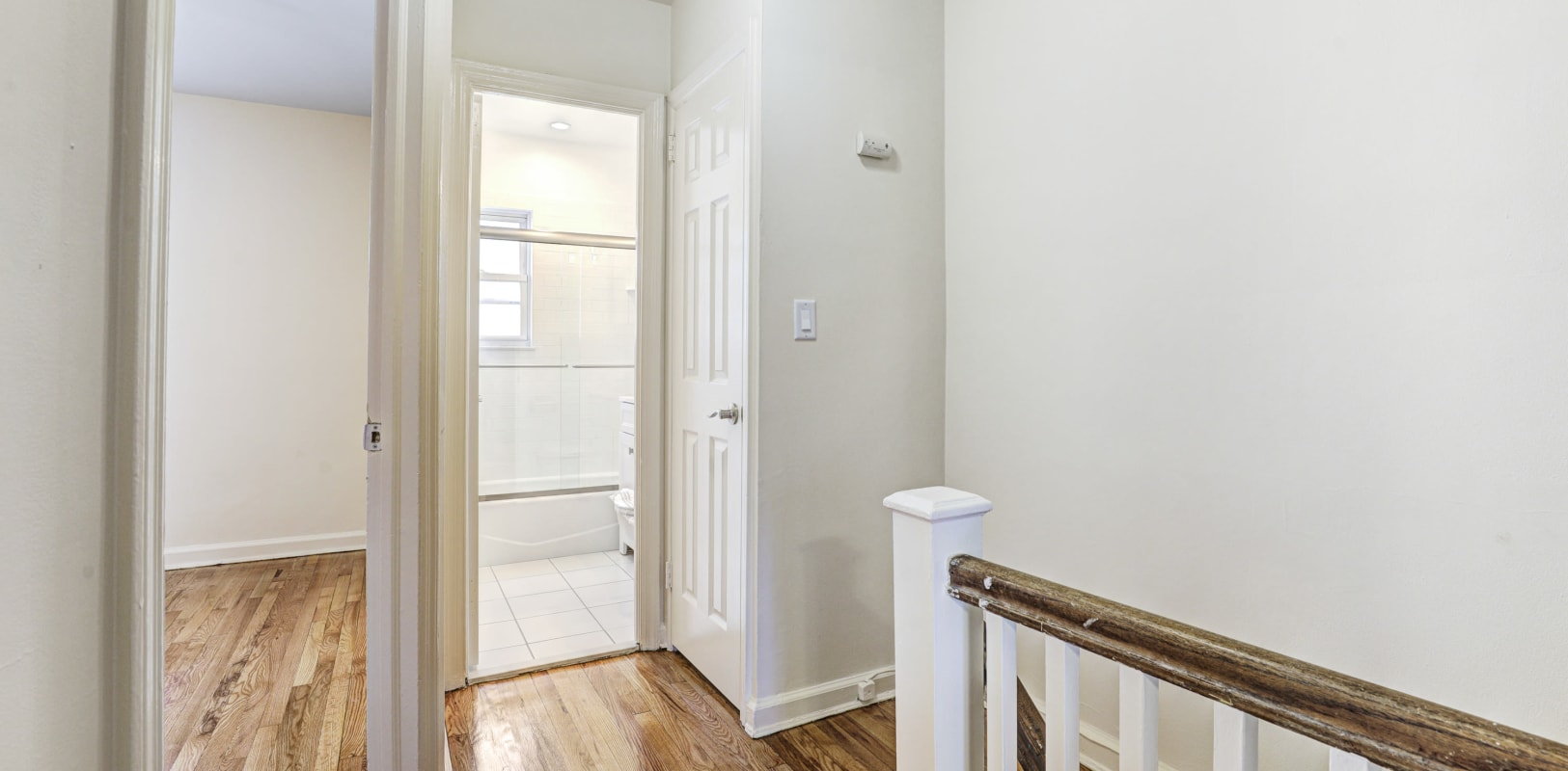 Upstairs bathroom with oval tub at General Wayne Townhomes and Ridgedale Gardens in Madison, New Jersey