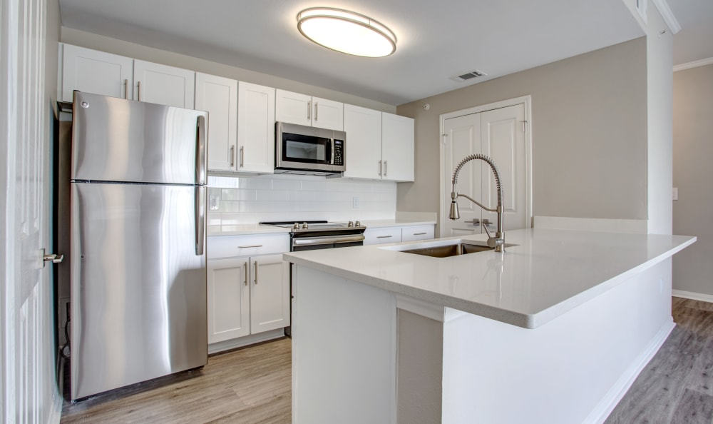 Quartz countertops and stainless-steel appliances in a model home's kitchen at Riata Austin in Austin, Texas