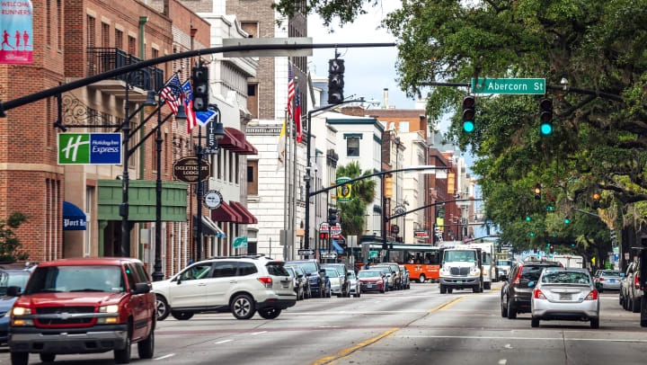 The streets of central Savannah, Georgia