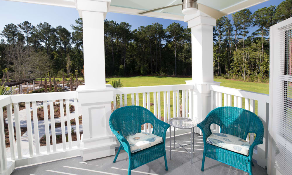 porch seating area at Merrill Gardens at Carolina Park in Mount Pleasant, South Carolina.