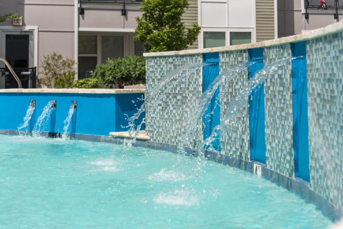 Water feature in Indigo 19's swimming pool in Virginia Beach, Virginia