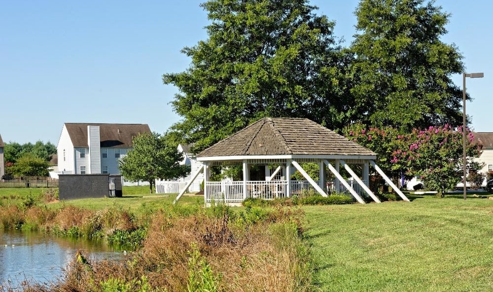 Gazebo and scenic pond at Village of Westover in Dover, Delaware