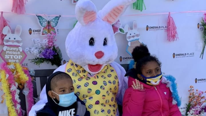 Children with Easter Bunny