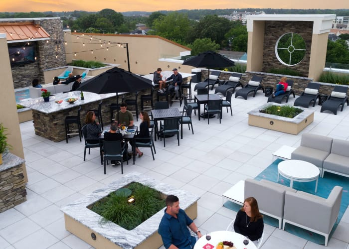 View of the rooftop resident lounge at Aqua on 25th in Virginia Beach, Aqua on 25th
