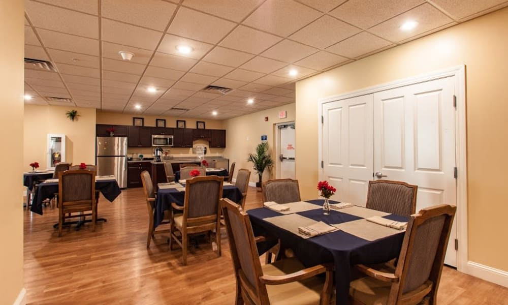 Memory care dining room and kitchen at Keystone Place at Forevergreen in North Liberty, Iowa