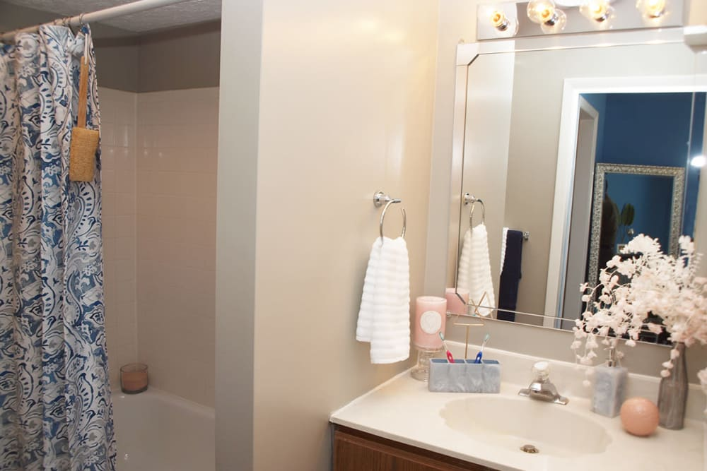 Bathroom with shower at Fox Chase Apartments in Cincinnati, Ohio