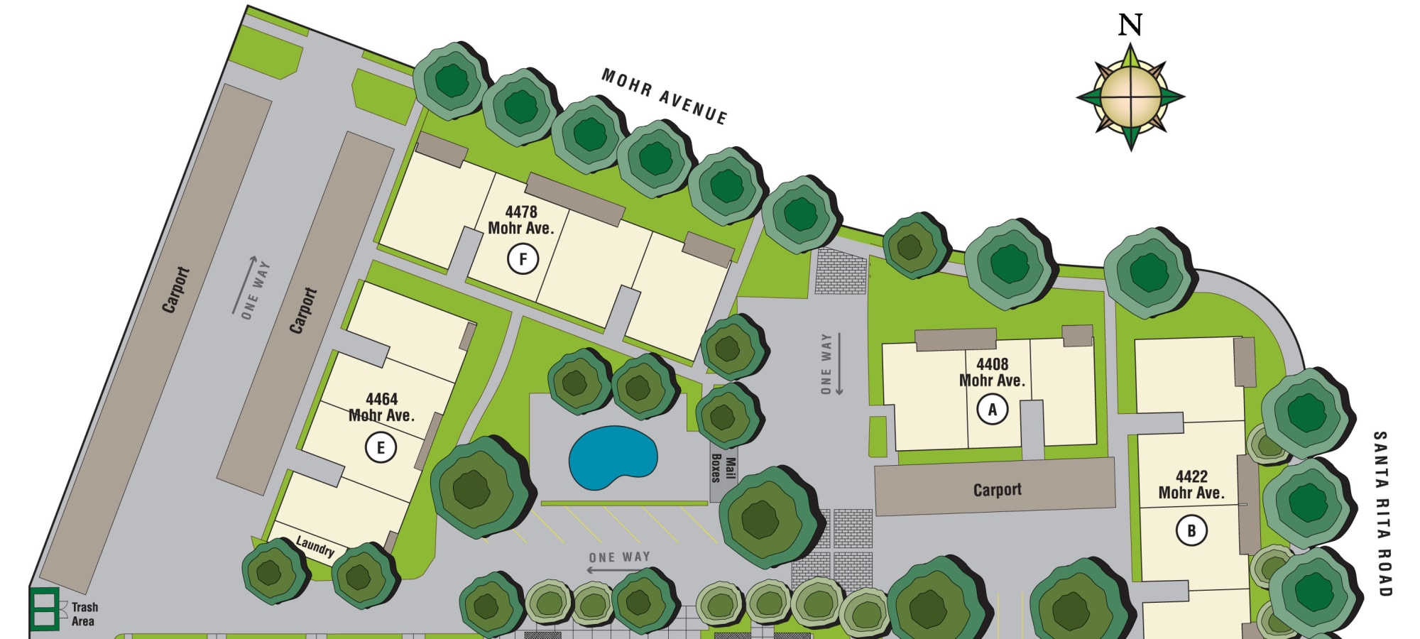 Site plan for Pleasanton Place Apartment Homes in Pleasanton, California