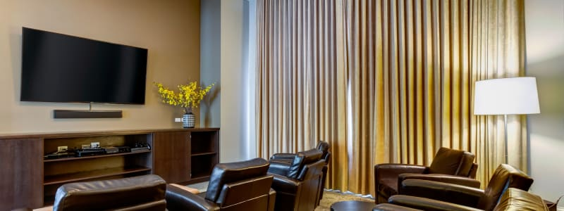 Movie room with comfortable seating at The Oaks Of Vernon Hills in Vernon Hills, Illinois