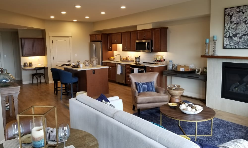 A cottage dining room and kitchen at Touchmark on Saddle Drive in Helena, Montana