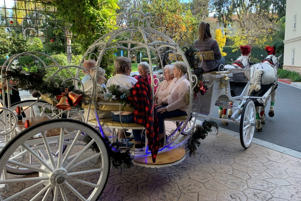 senior residents taking a ride in a carriage