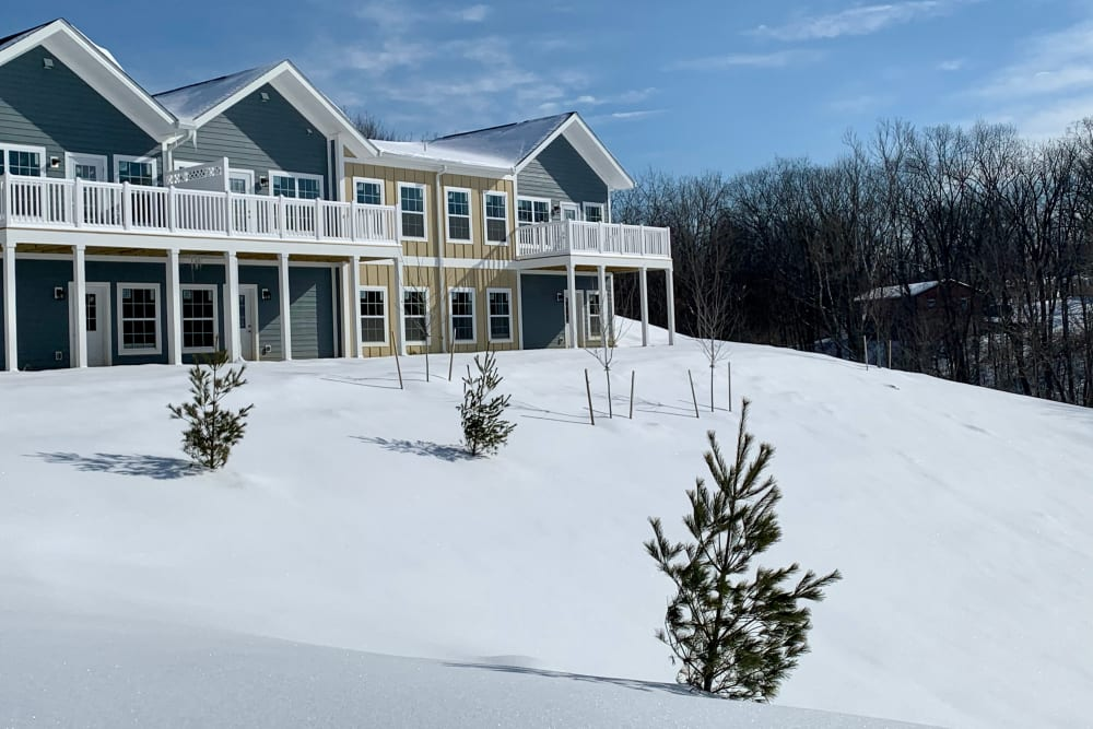 view of community during winter with snow