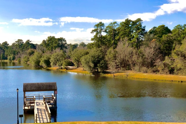 Lake and dock view at The Abbey on Lake Wyndemere in The Woodlands, TX