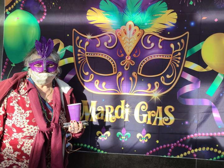 A West Covina resident celebrates Mardi Gras!