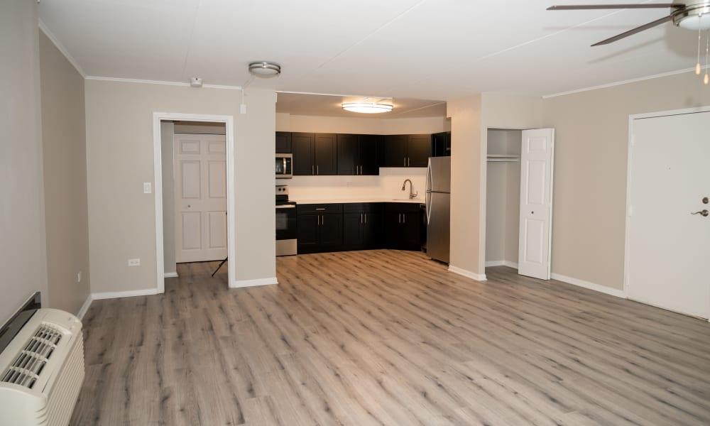 Wood style flooring at Mandalane Apartments in Wheeling, Illinois