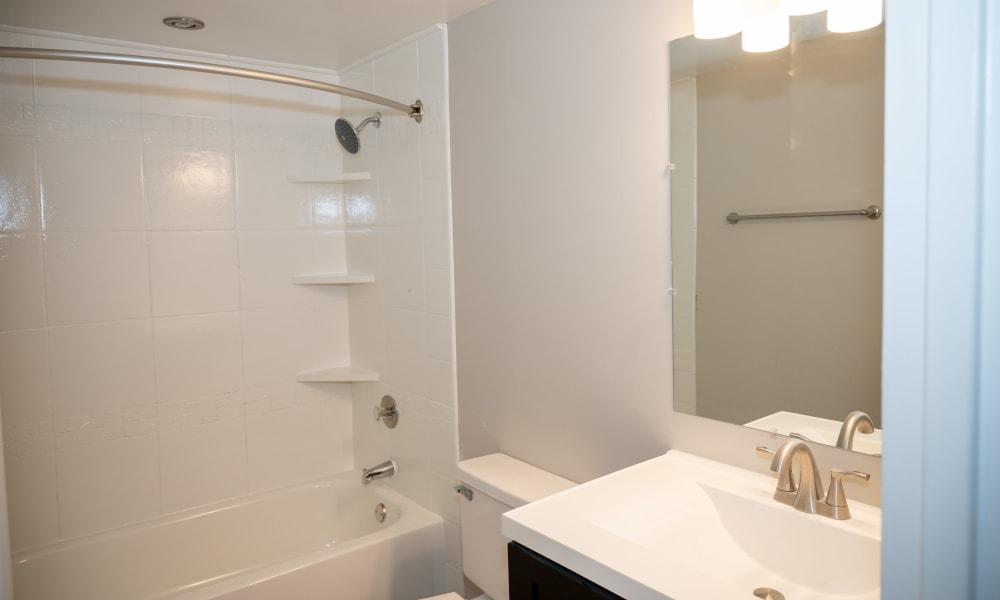 Spacious bathroom at Mandalane Apartments in Wheeling, Illinois