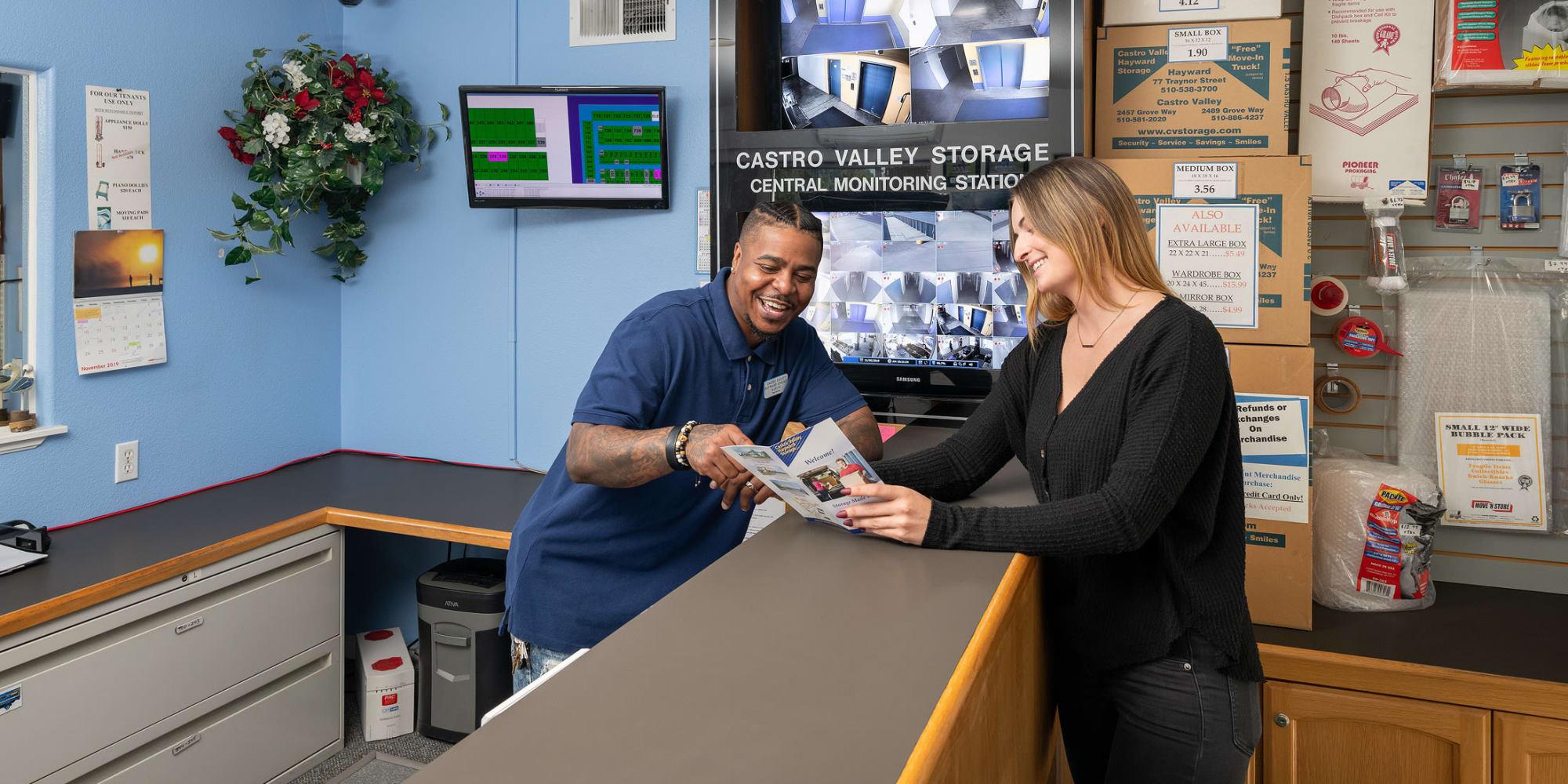 Employee and customer at Castro Valley Hayward Storage LLC in Castro Valley, California