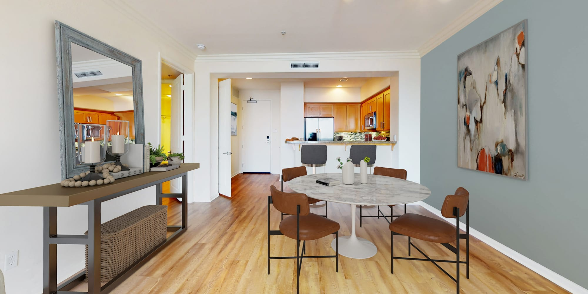 Plank flooring, granite countertops and stainless steel appliances at The Villa at Marina Harbor in Marina del Rey, California