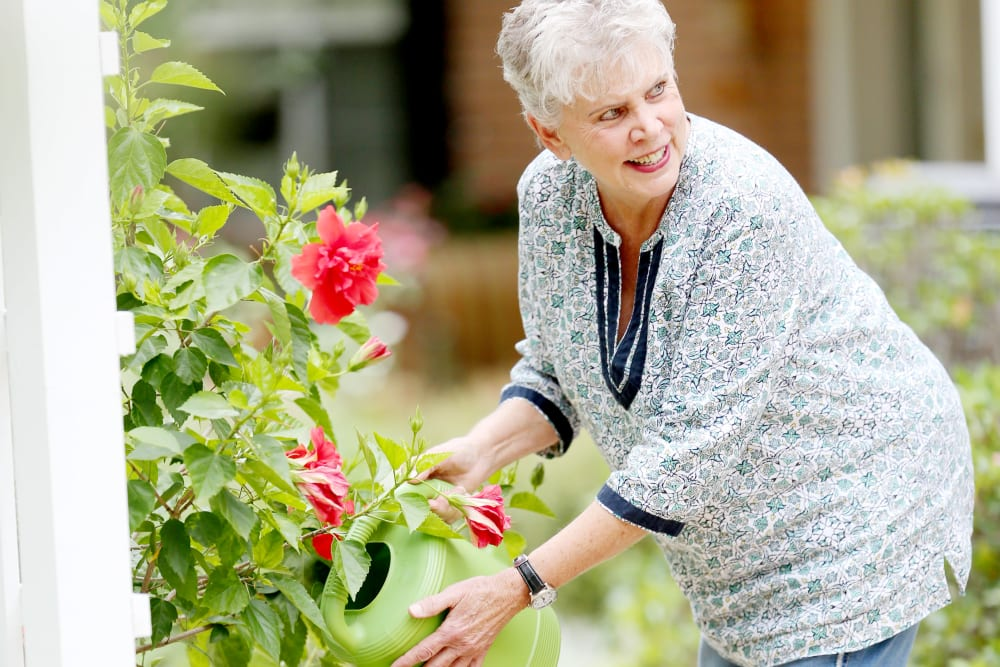 A resident gardening at Providence Assisted Living.