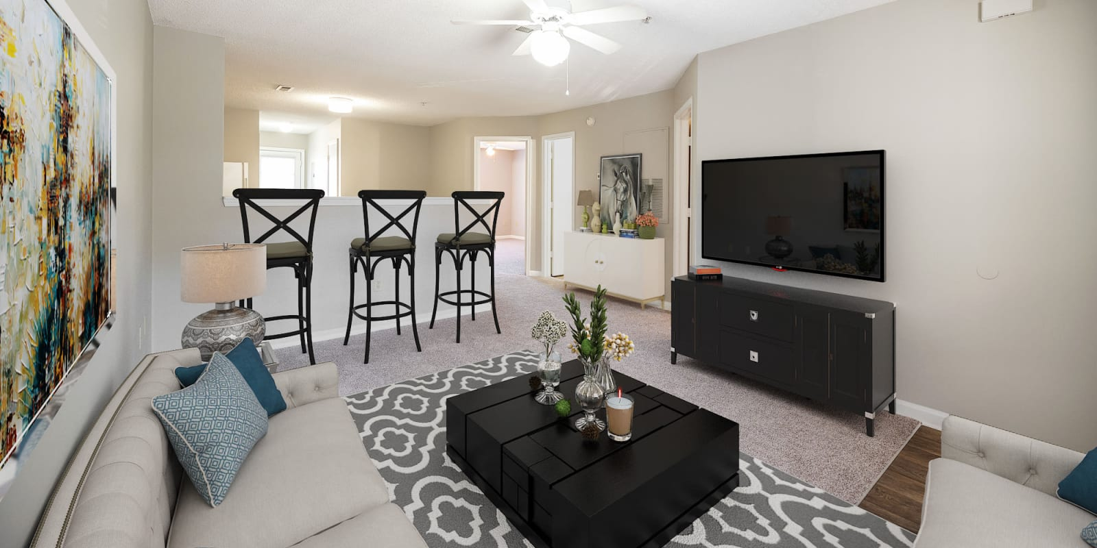 Living Room at Parkway Station Apartment Homes in Concord, North Carolina