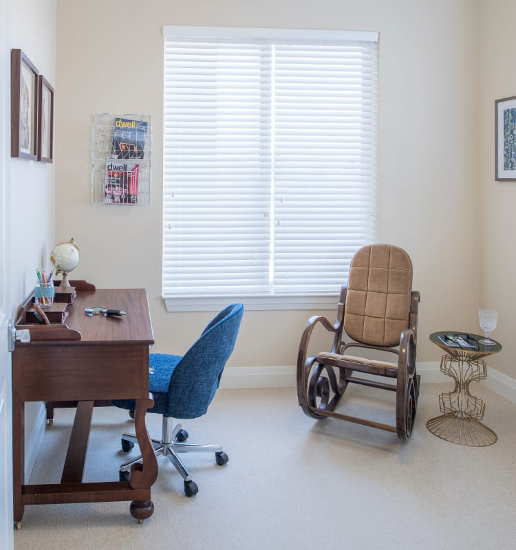 Cozy and comfortable memory care suite at Village at Belmar