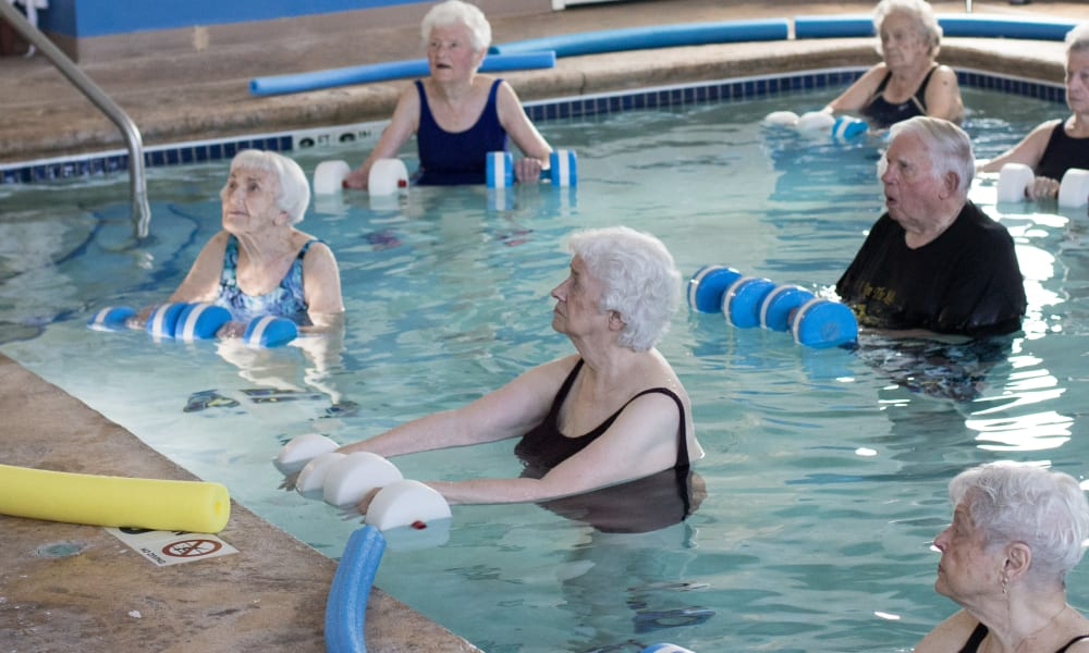 Residents exercising in the pool at The Keystones of Cedar Rapids in Cedar Rapids, Iowa