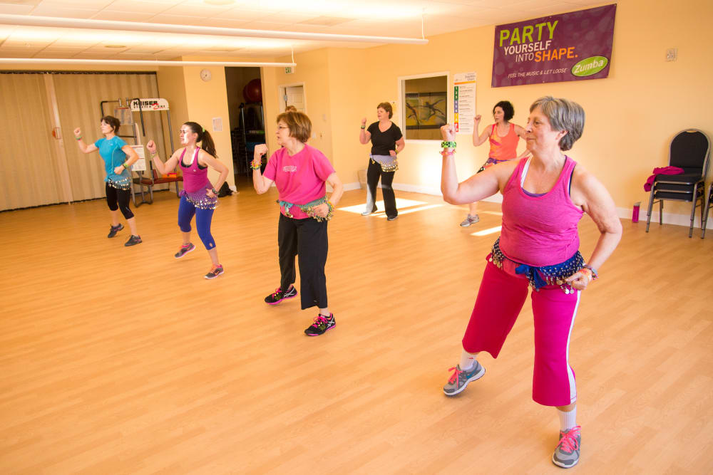 Residents exercising together at Touchmark at Harwood Groves in Fargo, North Dakota
