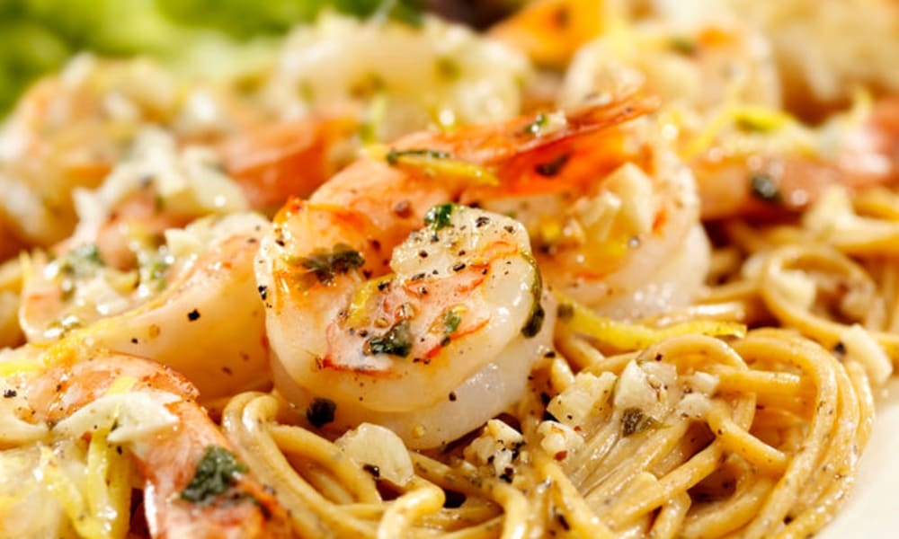 Shrimp scampi dish at White Oaks in Lawton, Michigan