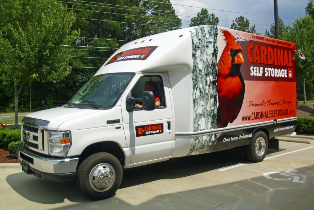 Moving truck from Cardinal Self Storage - North Durham in Durham, North Carolina