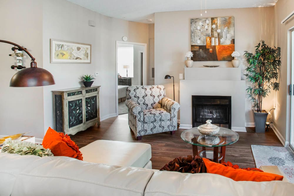 Well-furnished living space in an open-concept model home at The Seasons at Umstead in Raleigh, North Carolina