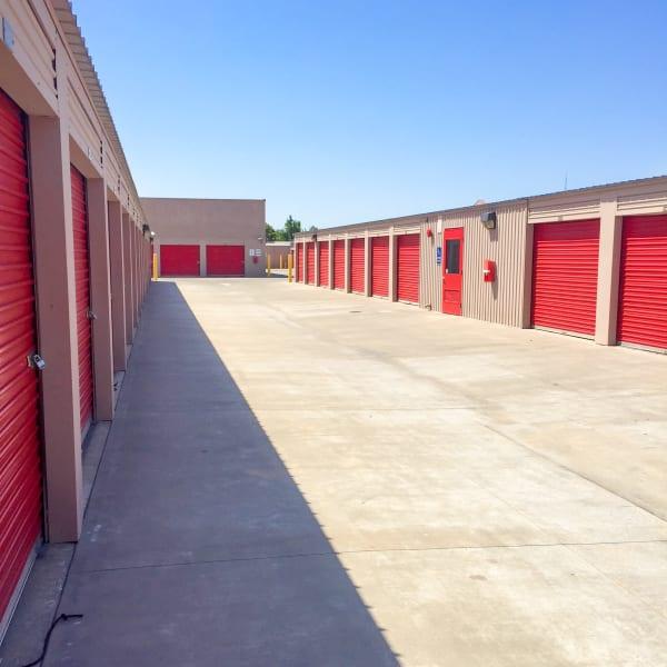 Outdoor storage units at StorQuest Self Storage in Los Banos, California