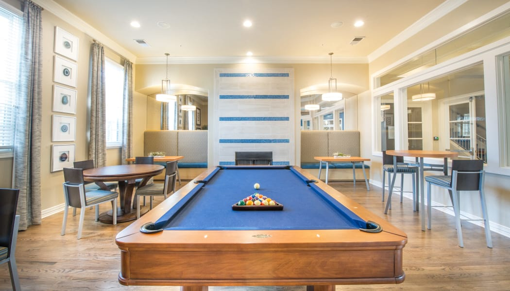Pool table at Bella Vida Estates in Plano, Texas