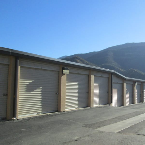 Outdoor storage units with drive-up access at StorQuest Self Storage in Manitou Springs, Colorado