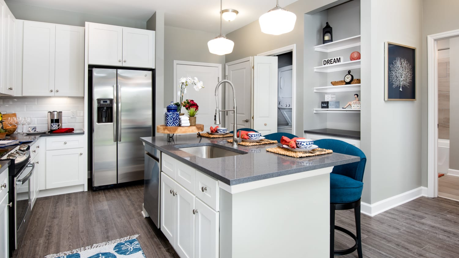 Spacious apartment kitchens at Avenida Cool Springs senior living apartments in Franklin, Tennessee