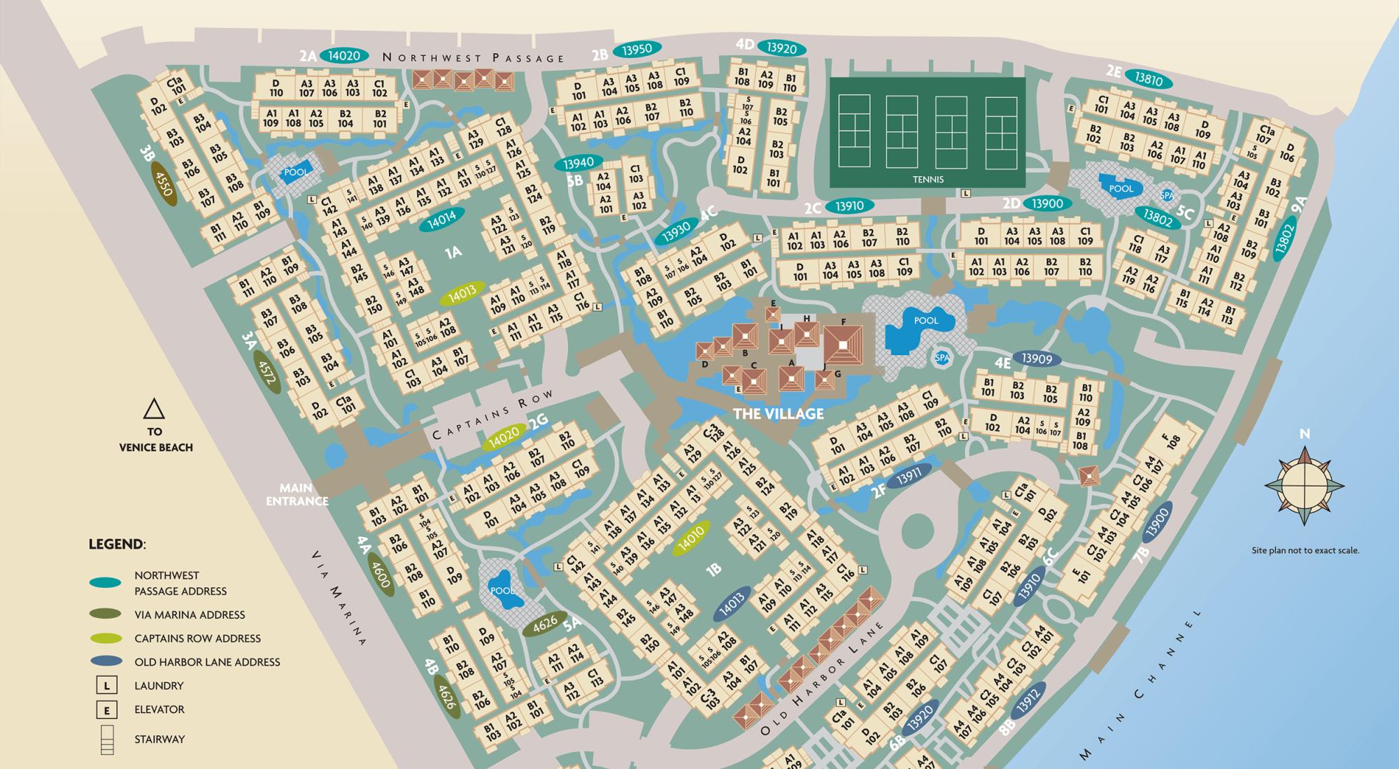 Site plan for Mariners Village in Marina del Rey, California