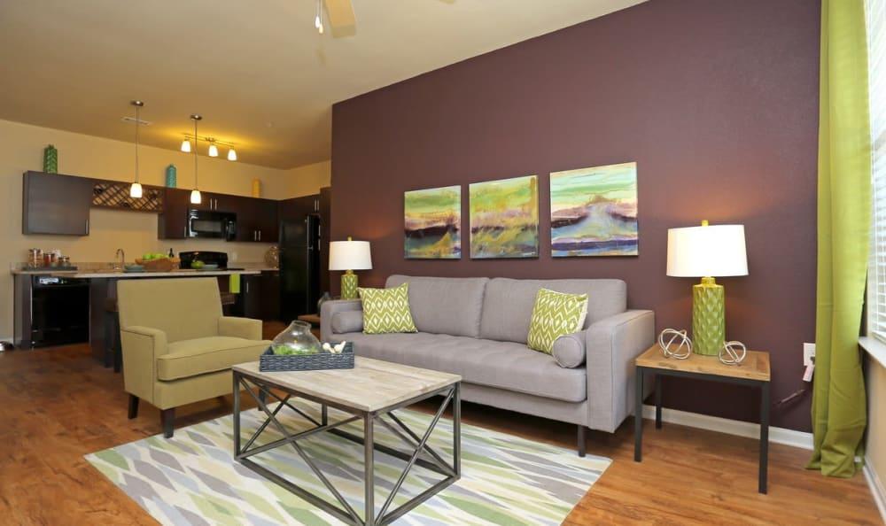Modern living room at Springs at Memorial in Oklahoma City